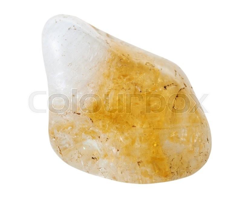 Macro shooting of natural mineral stone - tumbled yellow citrine ...
