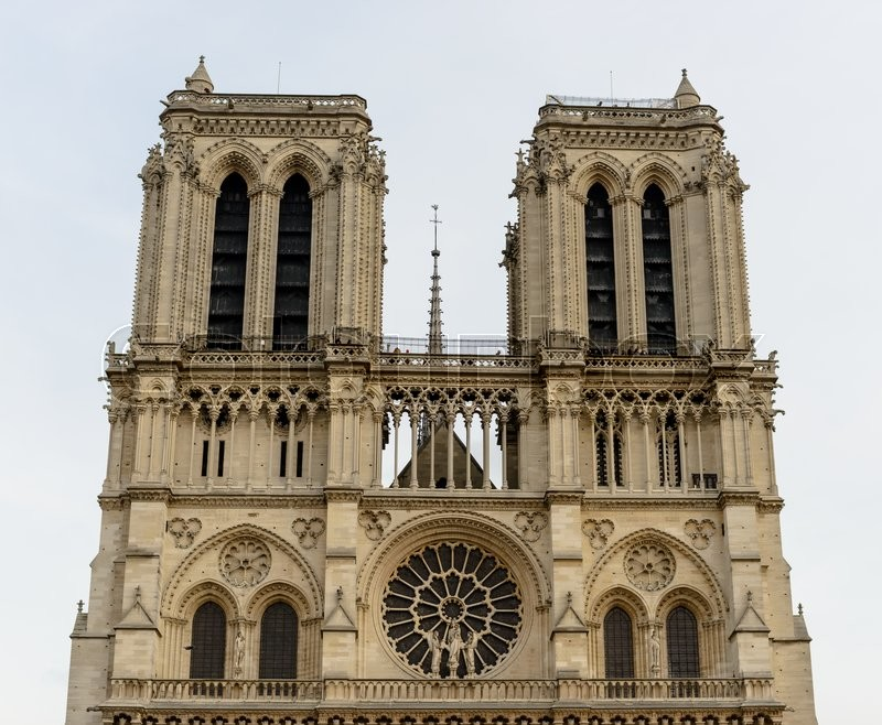 Cathedral Notre-Dame de Paris - Built in French Gothic architecture, and it is among most well-known church buildings in the world, stock photo