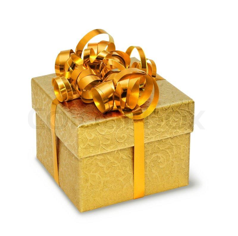 Magnifiques histoires de Noël - À méditer en cette Période des Fêtes ! 1754026-golden-present-box-on-white-background-isolated