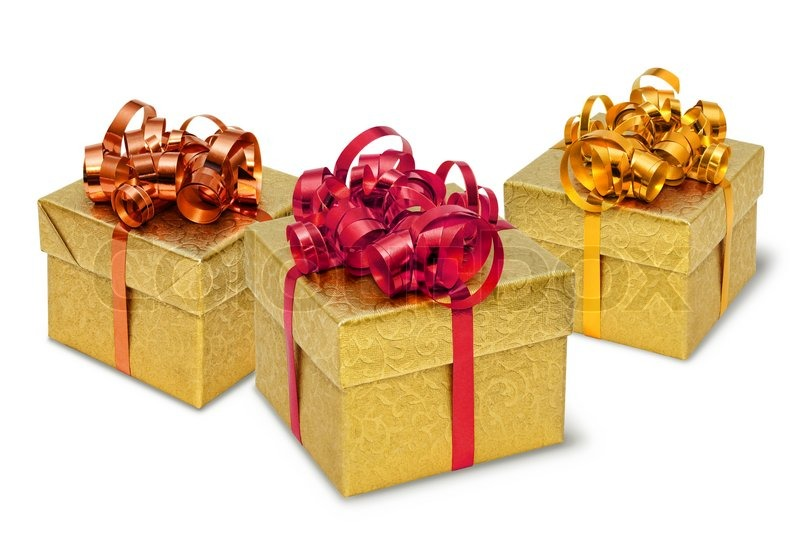 Three golden present gift boxes with silky bows and ribbons three golden present gift boxes with silky bows and ribbons stock photo colourbox negle Gallery
