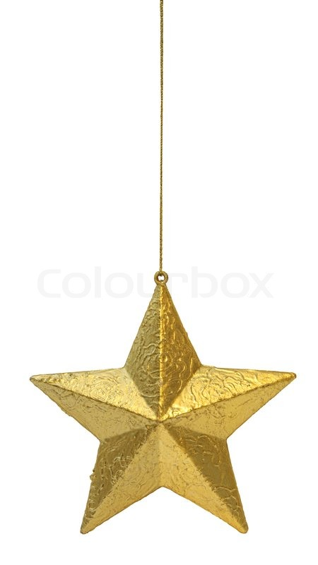 golden christmas decoration star hanging isolated on white background stock photo colourbox - Christmas Star Decorations