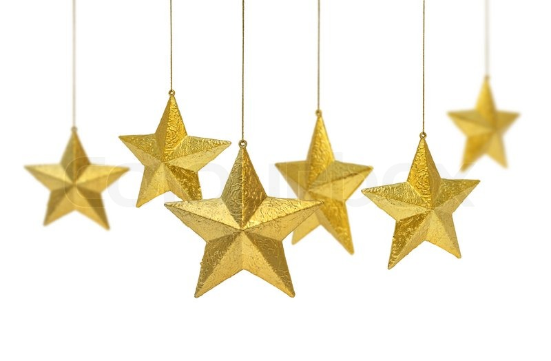 Six Golden Christmas Decoration Stars Hanging Isolated On White Background Stock Photo