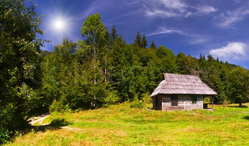 Summer landscape with road and house in the mountains stock photo colourbox - Summer houses mountains ...