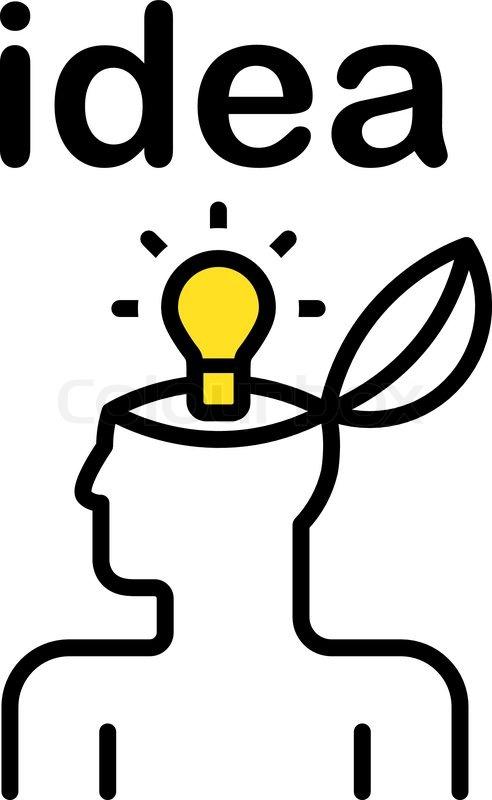 Darstellung der idee glühbirne in stilisierten menschlichen kopfes