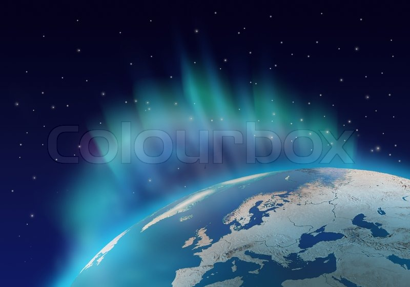 Northern lights aurora borealis over planet Earth northern ...