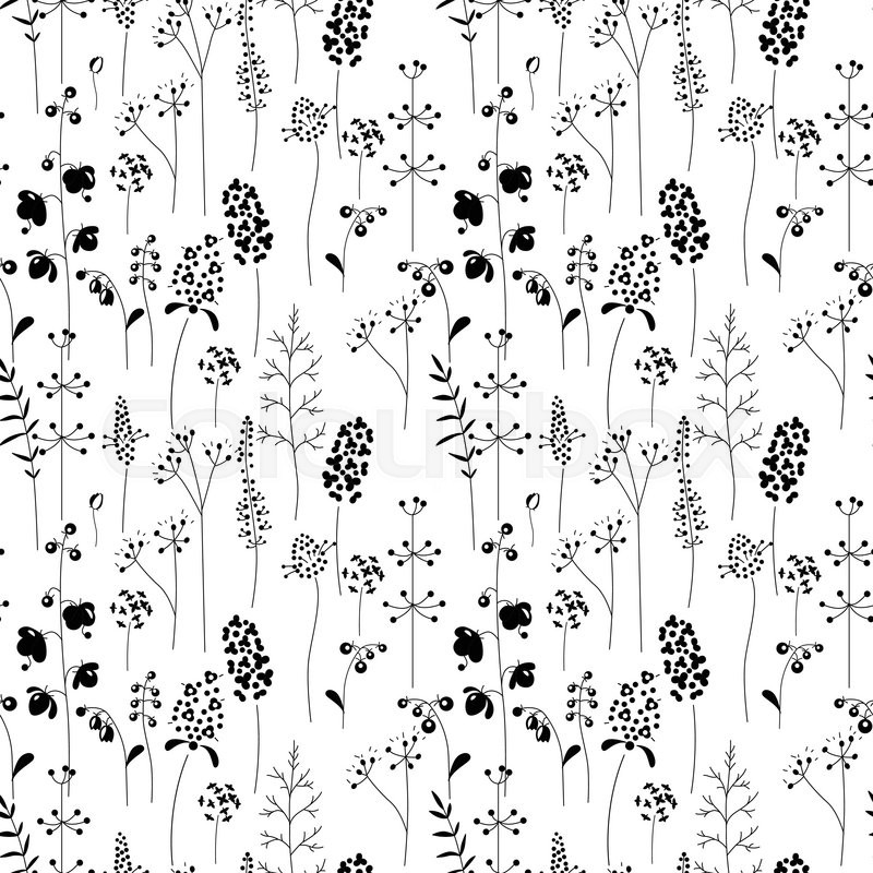 Seamless pattern with stylized herbs and plants black and white seamless pattern with stylized herbs and plants black and white silhouette endless texture for your design romantic greeting cards announcements m4hsunfo