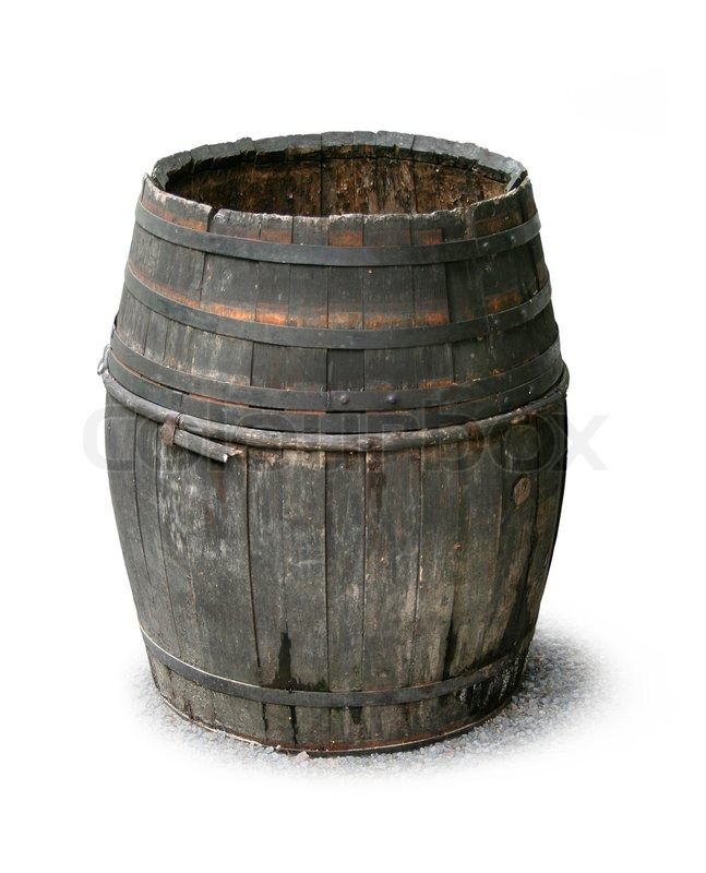 Dark Old Decayed Wooden Barrel Isolated On White Stock