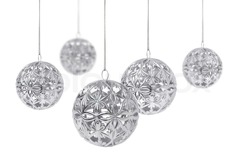 Shiny silver christmas ball hanging isolated on white - Black and silver christmas ...