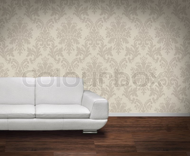 White Leather Sofa In Room With Wooden Floor And Damask Pattern Wall |  Stock Photo | Colourbox