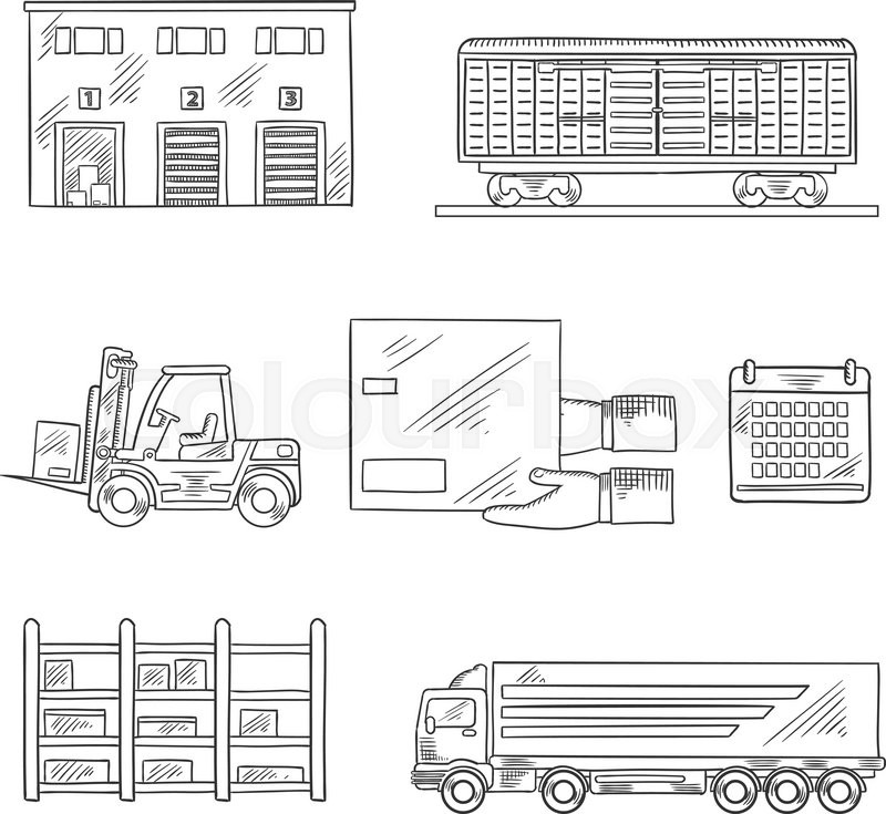 Delivery And Storage Service Icons In Sketch Style With Warehouse Building,  Freight Wagon, Cargo Truck, Forklift Truck, Storage Rack, Calendar And  Hands ...
