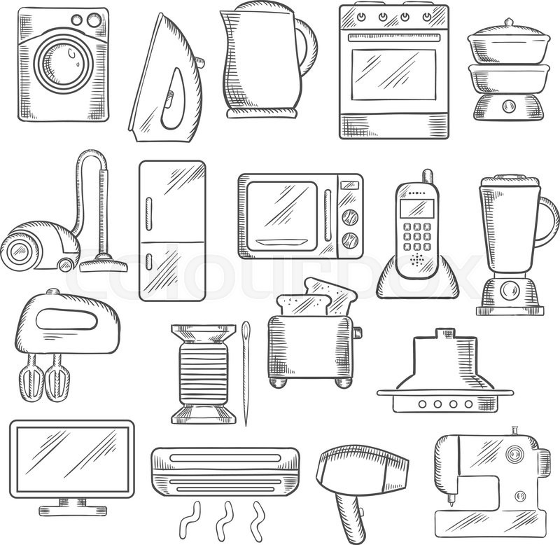 Home Appliance Icons With Microwave, ...