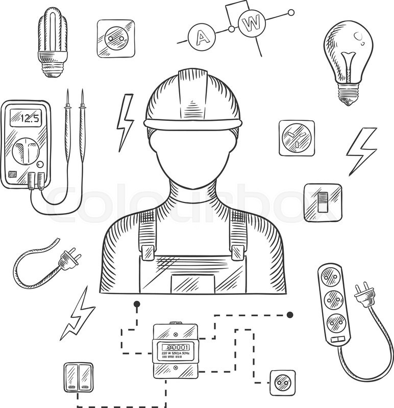 electrician man in hard hat with