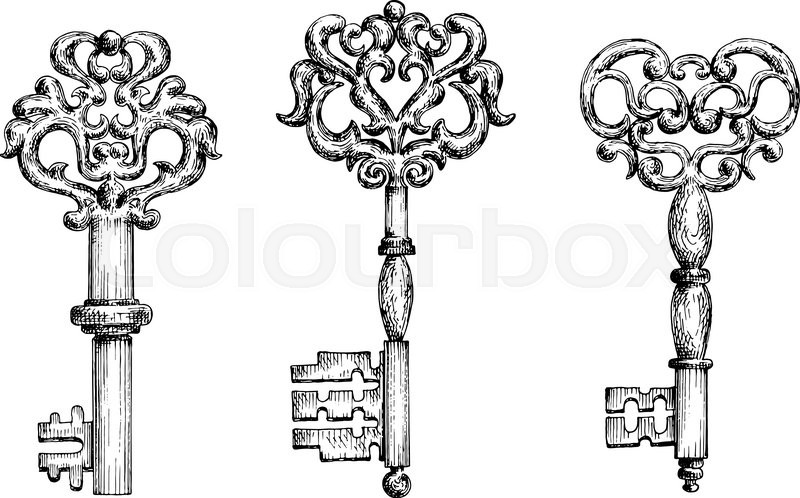 vintage keys sketch icons for tattoo or medieval stylized design ornate old skeleton keys. Black Bedroom Furniture Sets. Home Design Ideas