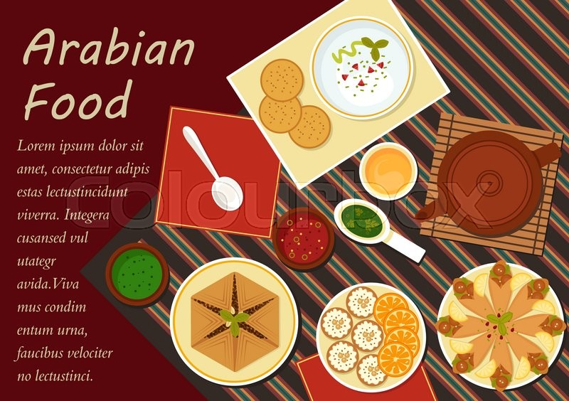 Spicy arabian food with chickpea falafels wrapped in flatbread pita with hummus assortment of dipping sauces sfiha meat pie teapot and cakes with sliced oranges menu or recipe book design usage vector forumfinder Image collections