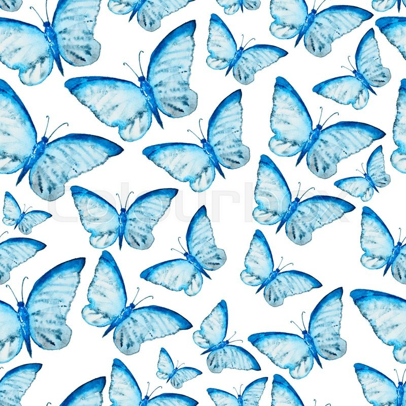 Seamless Watercolor Pattern With Blue Butterfly Vintage Seamless Enchanting Butterfly Pattern