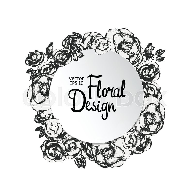 Vintage floral vector frame. Black and white. Hand-drawn flowers ...