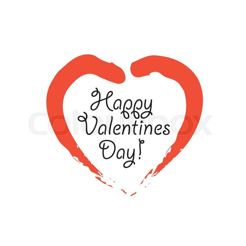 Happy Valentines Day Vector Graphic With Handwritten Love Or Heart
