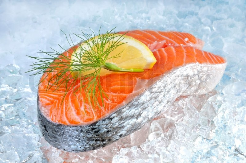 fresh salmon steak on ice with lemon stock photo colourbox. Black Bedroom Furniture Sets. Home Design Ideas