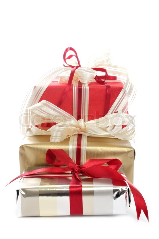 three christmas packages in front of a white background stock photo colourbox - Christmas Packages