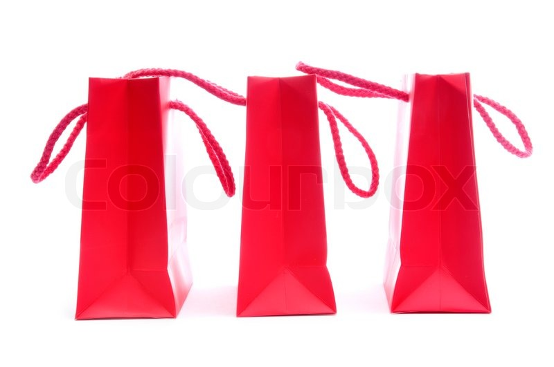 Three Red Shopping Bags in