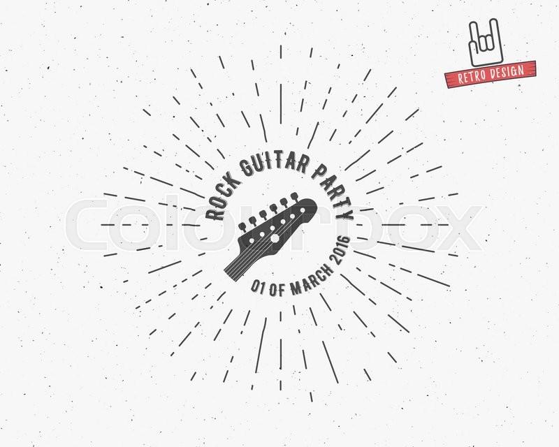 Vector Vintage Guitar Label With Sunburst Typography Elements Text