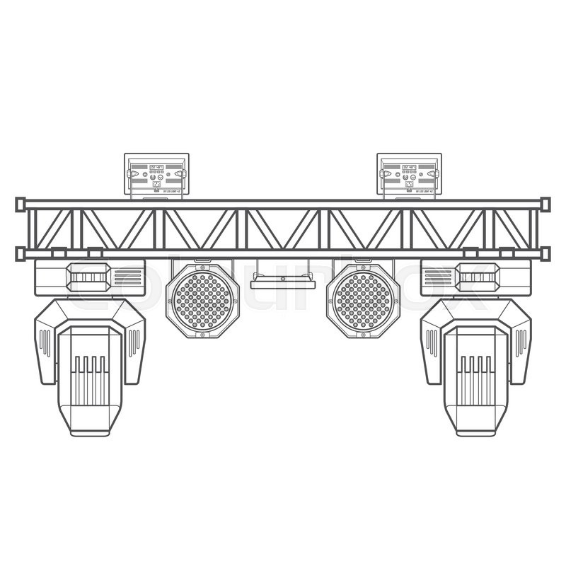 Vector monochrome contour metal frame concert stage truss lighting ...