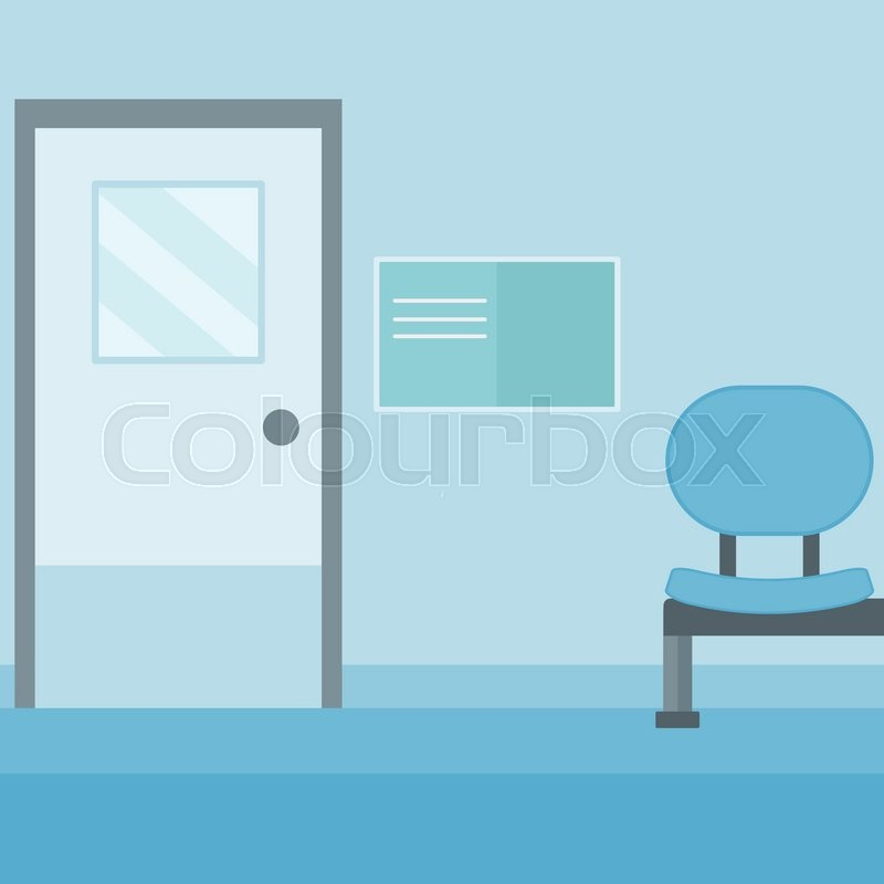 Background of hospital corridor with chair and door vector flat design illustration. Square layout. | Stock Vector | Colourbox  sc 1 st  Colourbox & Background of hospital corridor with chair and door vector flat ...
