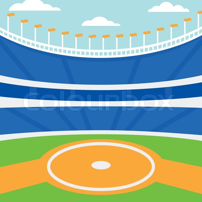 background of baseball stadium vector flat design illustration  square layout