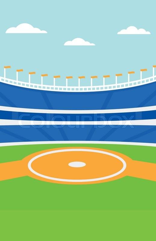 Background Of Baseball Stadium Vector Flat Design