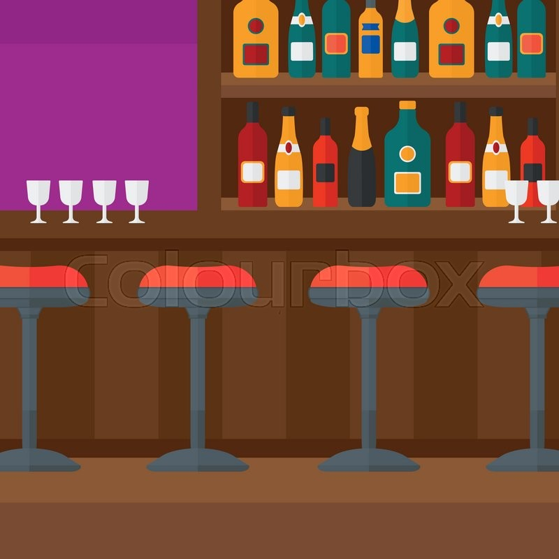 Background Of Bar Counter With Stools And Alcohol Drinks