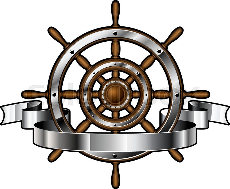 Ship Wooden And Steel Steering Wheel Corporate Emblem With Banner