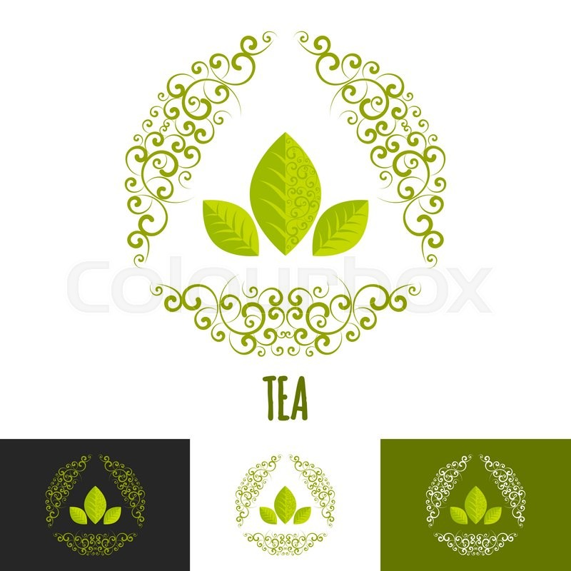 Green tea logo branding concept. Three leaves vector logotype badge ...