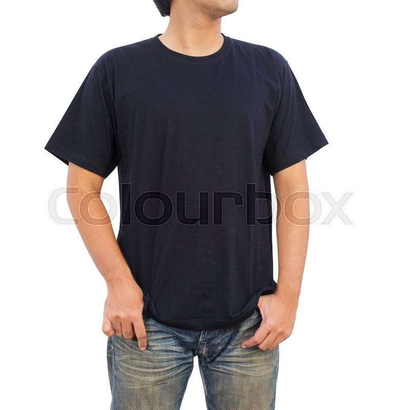 Men in a blue jeans and black T-shirt on white background | Stock ...