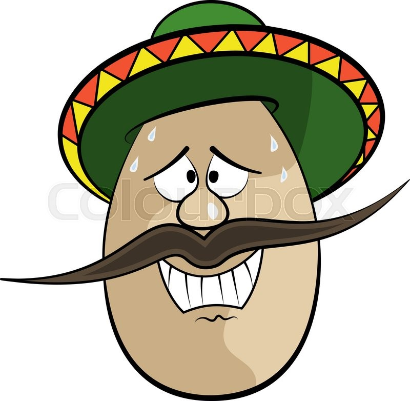 Mexican funny cartoon egg face character vector