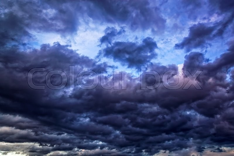 Dark sky with gloomy storm clouds, stock photo