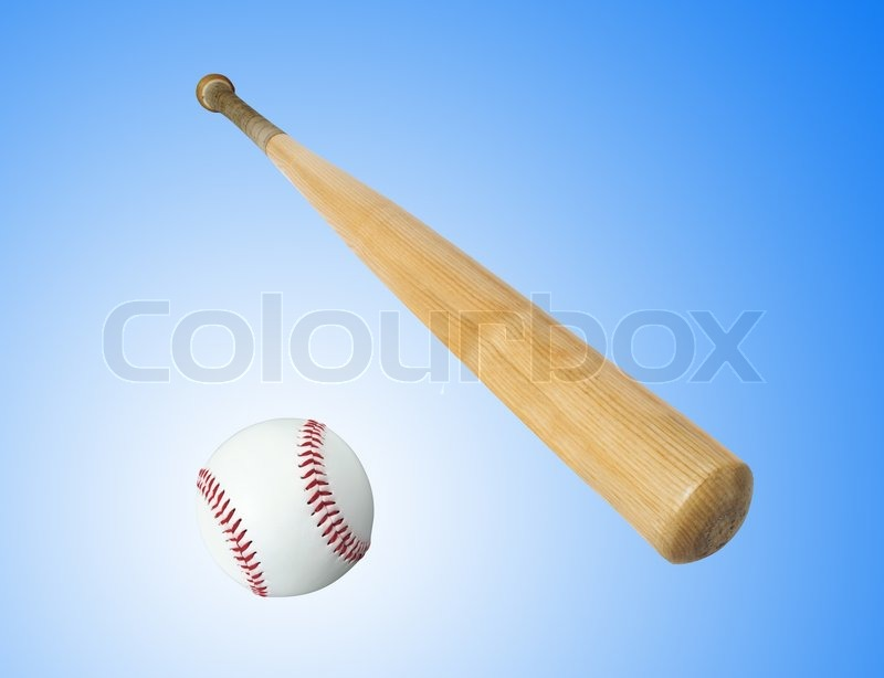 Wooden baseball bat and ball isolated on white, stock photo