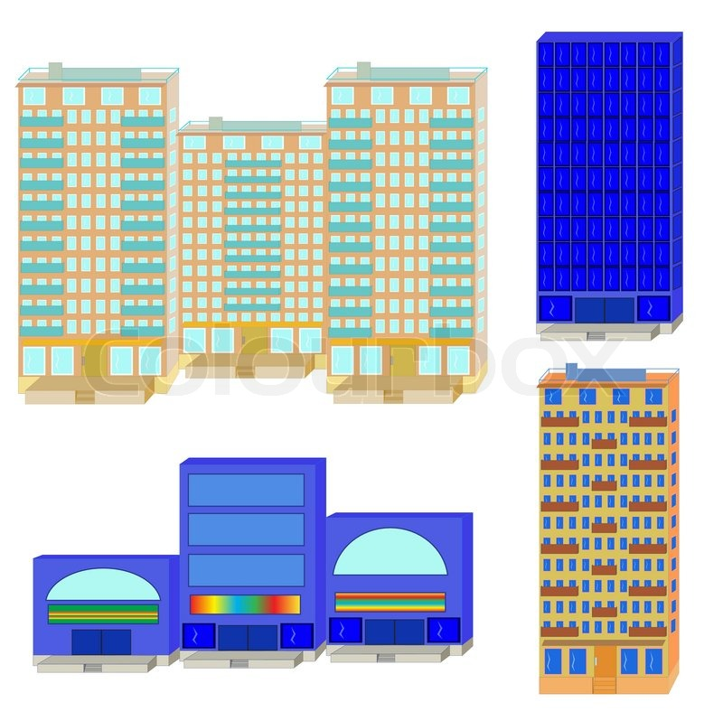 Apartment Shopping: Set From Apartment Houses And Shopping Center On A White