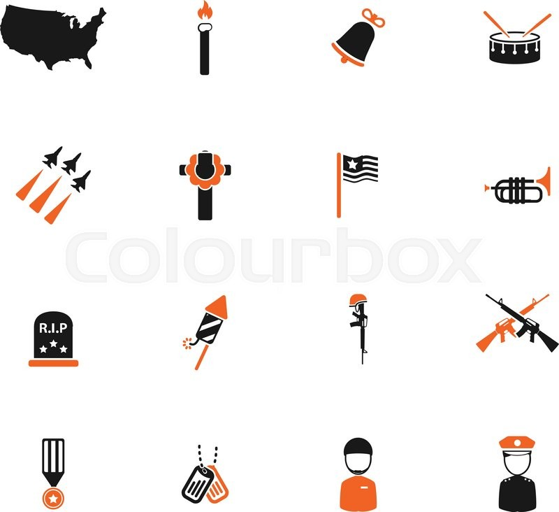 Memorial Day Simply Symbols For Web Icons Stock Vector Colourbox