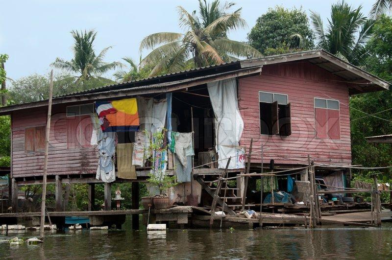 Old House Near The River Klongs In Bangkok Stock Photo