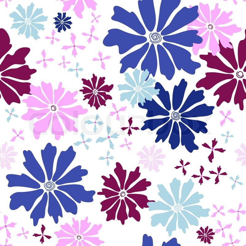 floral nahtlose wei em muster mit blauen und rosa bl ten. Black Bedroom Furniture Sets. Home Design Ideas