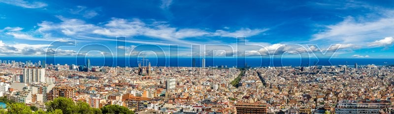 Panoramic view of Barcelona from Park Guell in a summer day in Spain, stock photo