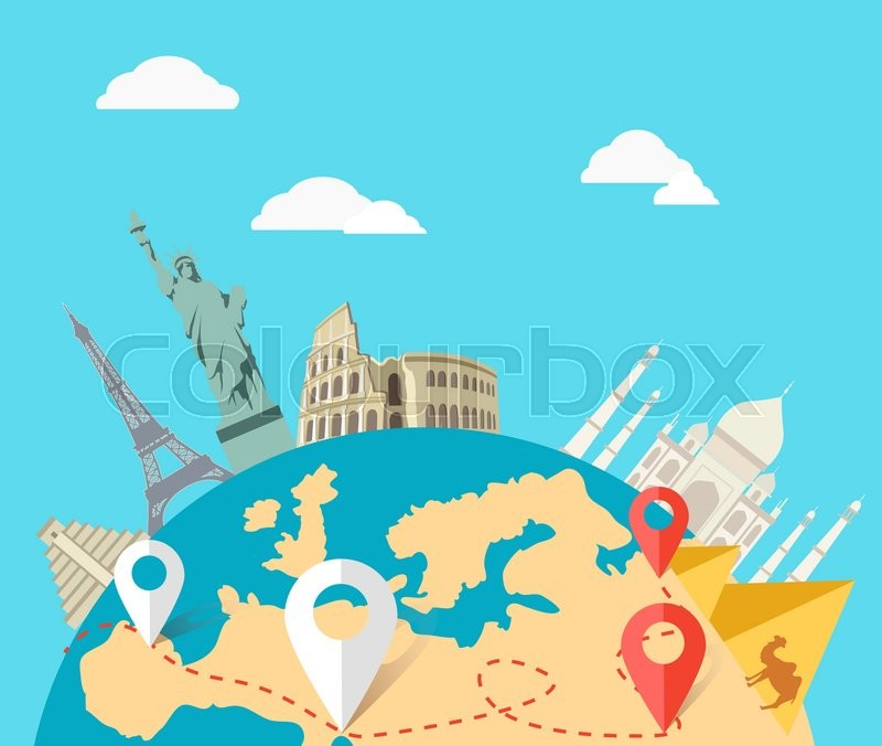 World adventure travel relaxation journey leisure rest tourism travel world globe world map around the world globe travel world tou stock vector colourbox gumiabroncs Images