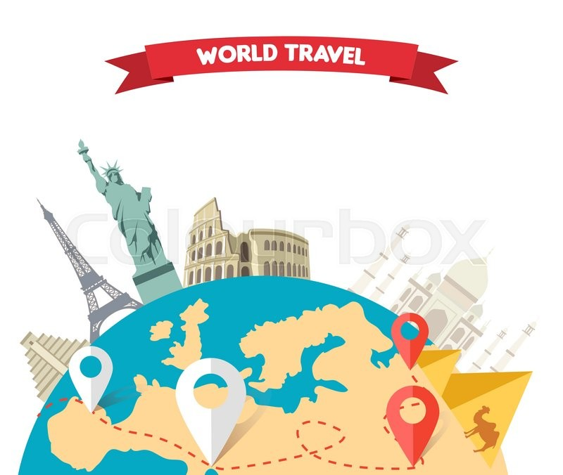 World adventure travel relaxation journey leisure rest tourism travel world globe world map around the world globe travel world tou stock vector colourbox gumiabroncs