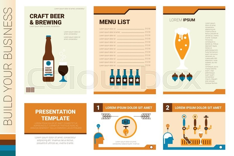 Book Cover Craft Beer : Craft beer book cover and presentation template with flat