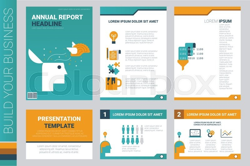 annual report book cover and presentation template with flat design