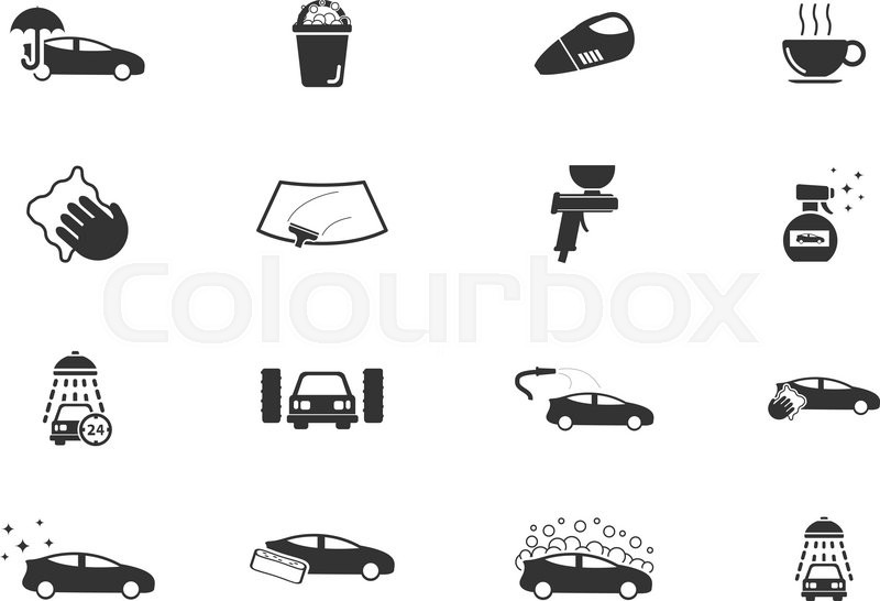 Car Wash Simply Symbols For Web And User Interface Stock Vector