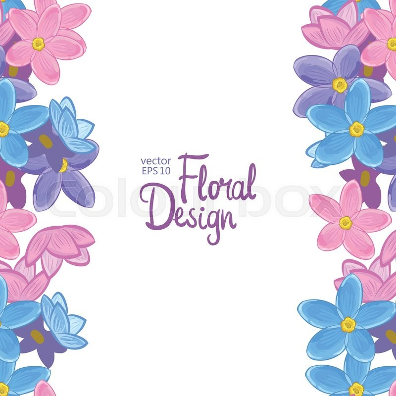 Vector vertical border with blue pink and violet forget me not vector vertical border with blue pink and violet forget me not flowers on a white background floral design stock vector colourbox mightylinksfo