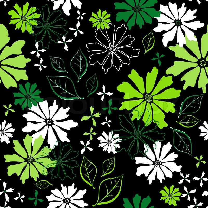 Green and white floral pattern - photo#20