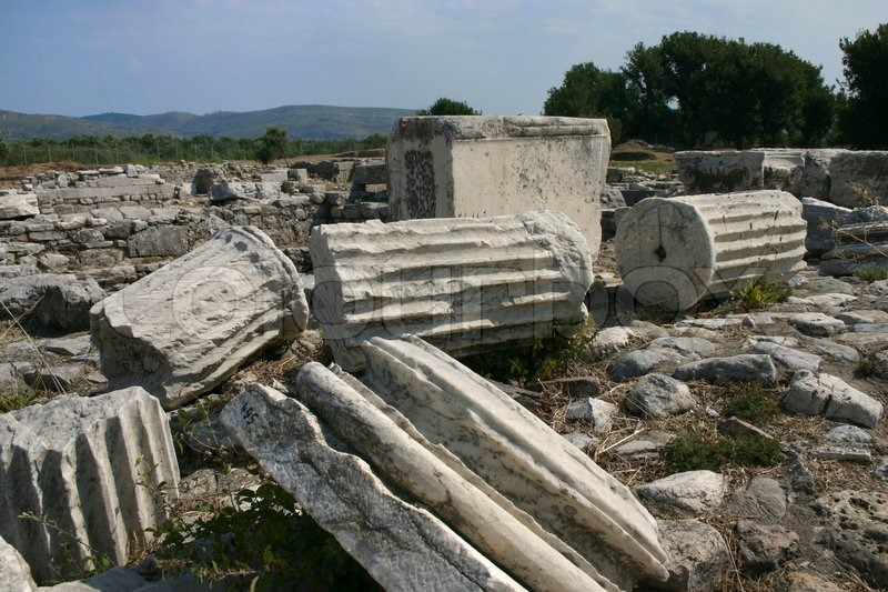 Ancient Temple Ruins In Heraion Samos Stock Image Colourbox