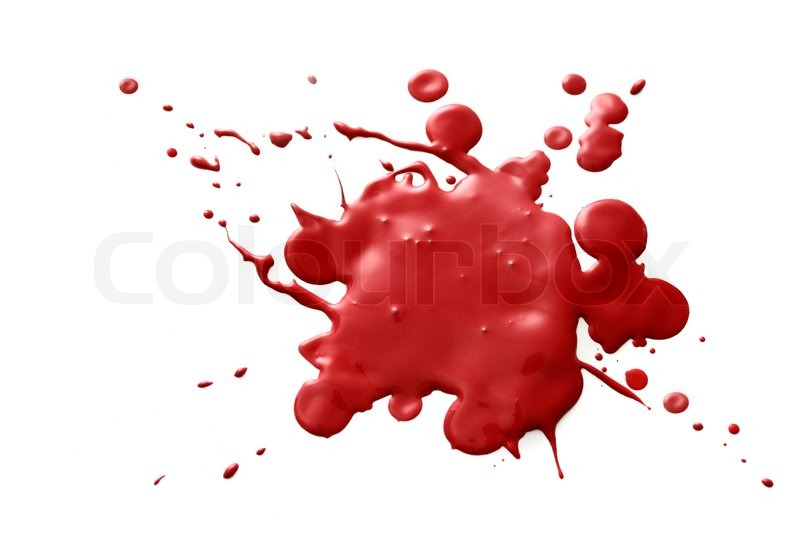Dark red splatter of blood isolated on white background ...